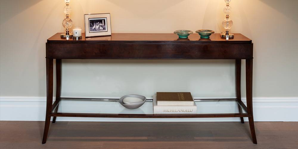 Architects in Devon London Townhouse Interior Design Bespoke walnut console table