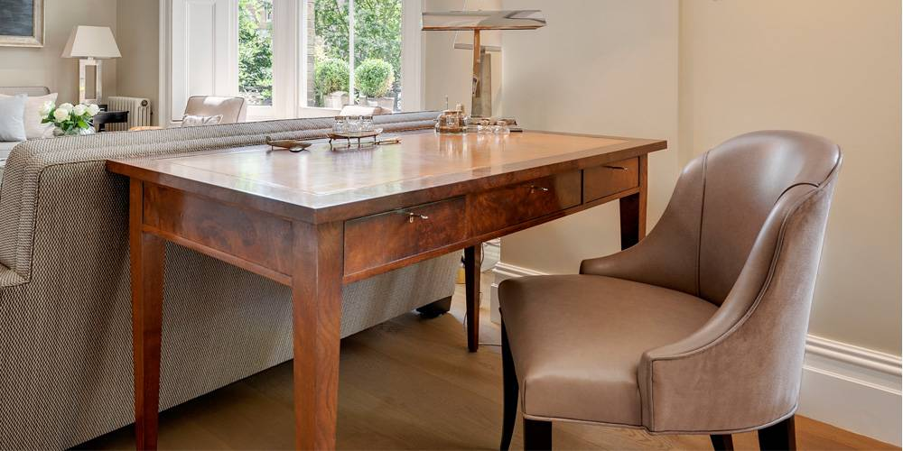 Architects in Devon London Townhouse Interior Design Bespoke walnut desk
