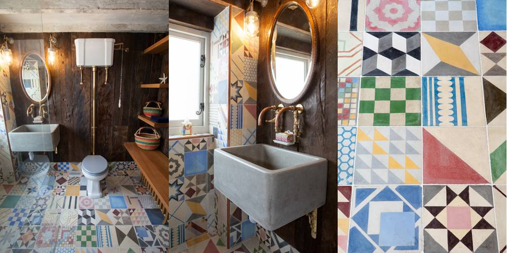 Devon Architect Utility shower room with copper taps and encaustic tiles Soho House