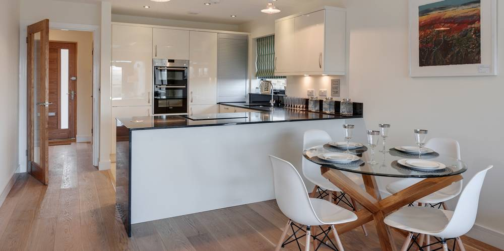 Open plan kitchen dining new housing