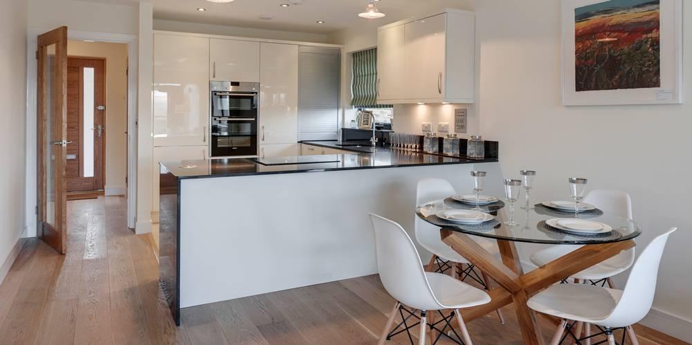 Open plan kitchen dining new housing