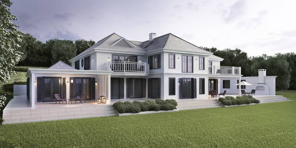 Architects Hamptons New England style in Cornwall new home Helford River Falmouth