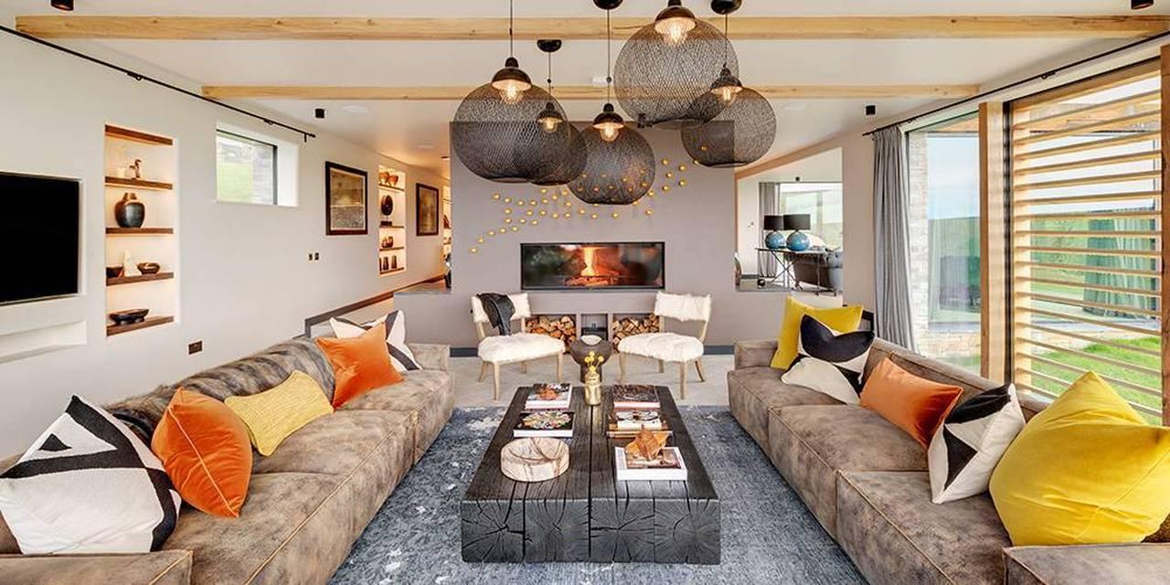 Architects Devon living room interior fireplace