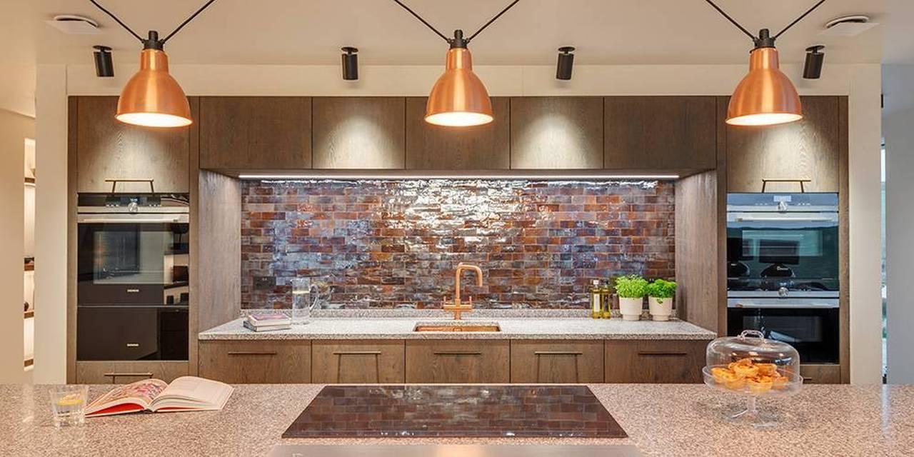 Cornwall architects granite kitchen worktop copper pendant lights