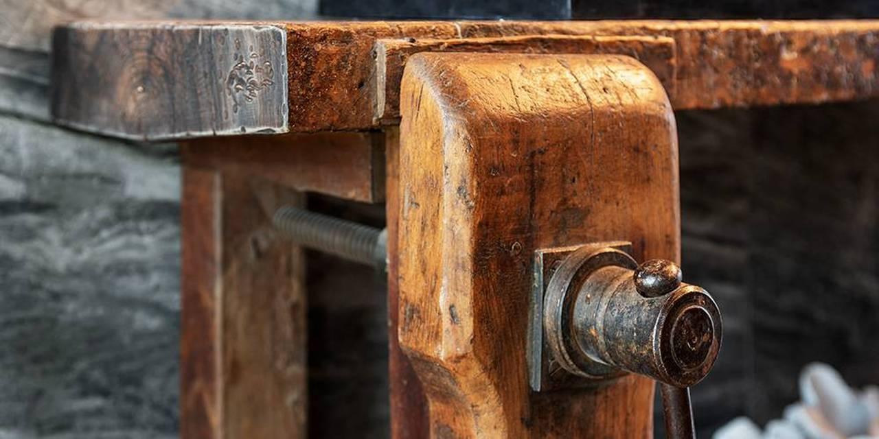 Devon architects reclaimned workbench bathroom vanity