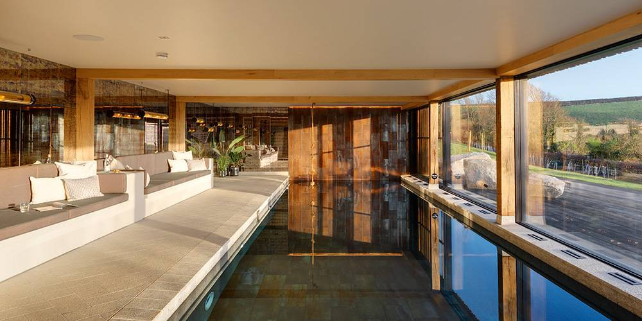 Devon architects swimming pool view