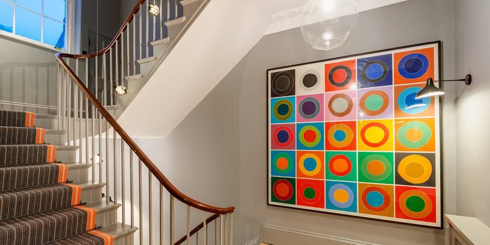 Architects Devon Stairwell art dusk lighting