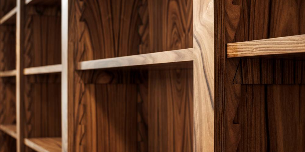 Architects Devon bookmatched study joinery