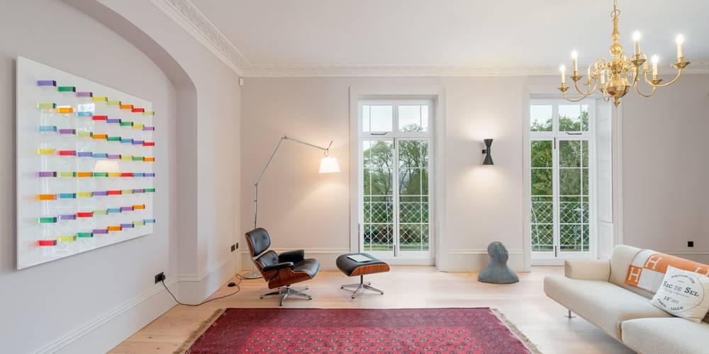 Architects Devon formal lounge lighting and artwork