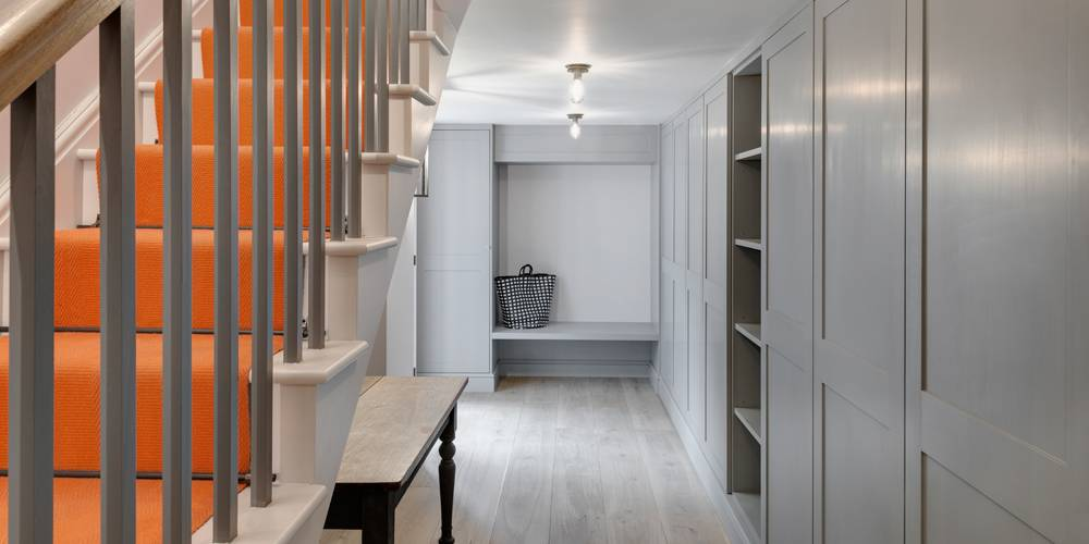 Architects Devon hall stair and runner view