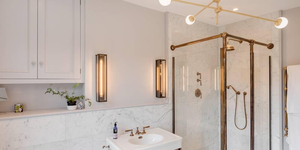 Architects Devon master bathroom lighting and Drummonds shower