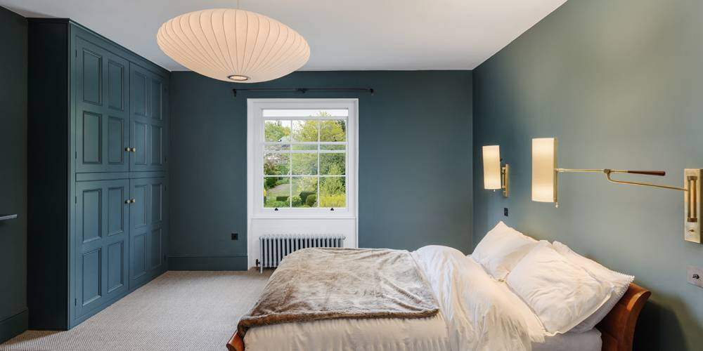 Architects Devon master bedroom lighting and joinery paint colours