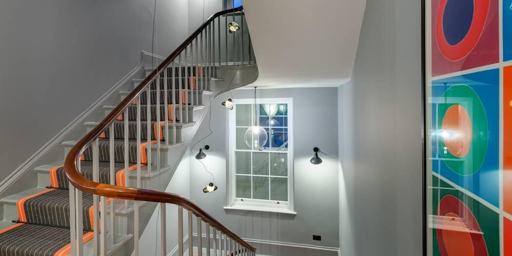 Architects Devon stairwell dusk lighting