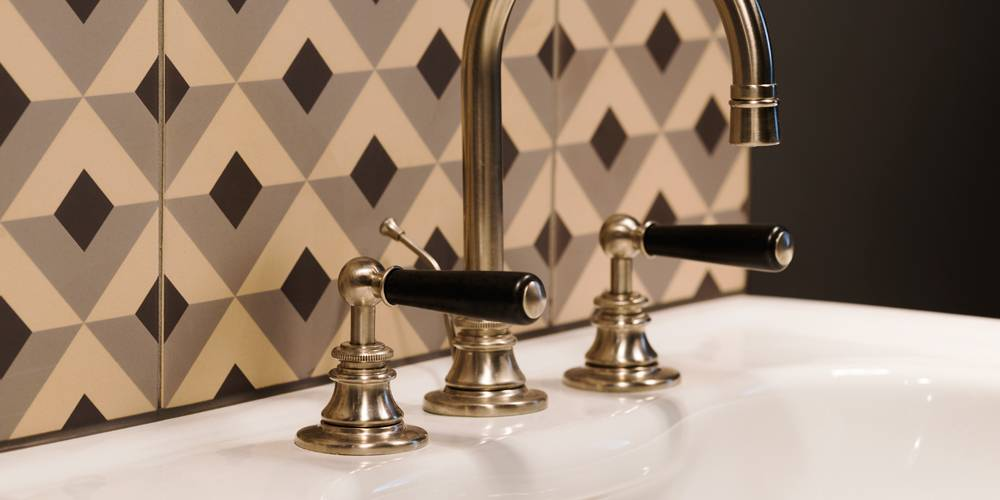 Architects Exeter bathroom details tapware and encaustic tiling