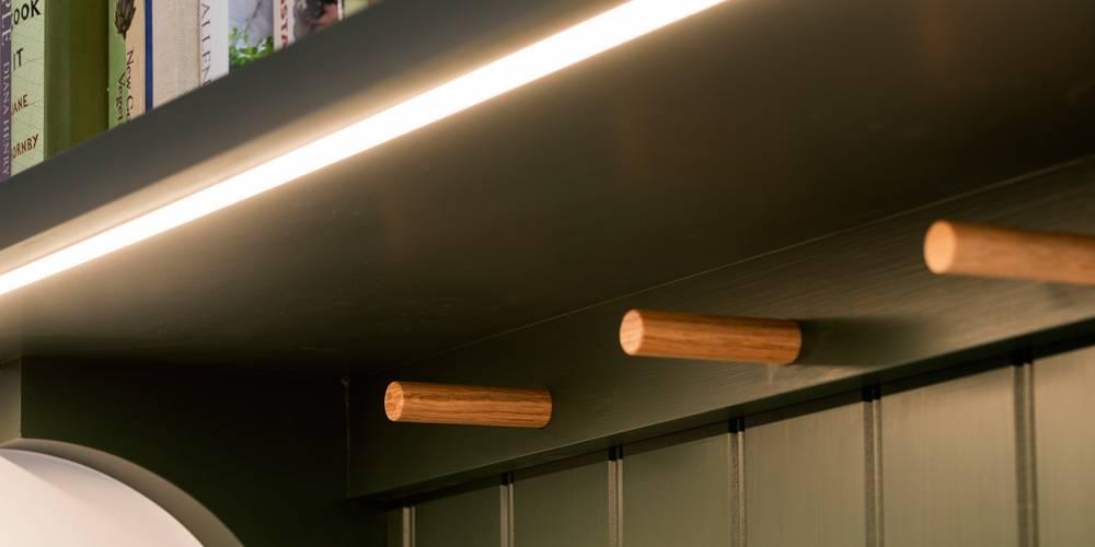 Devon architects oak shaker peg rail