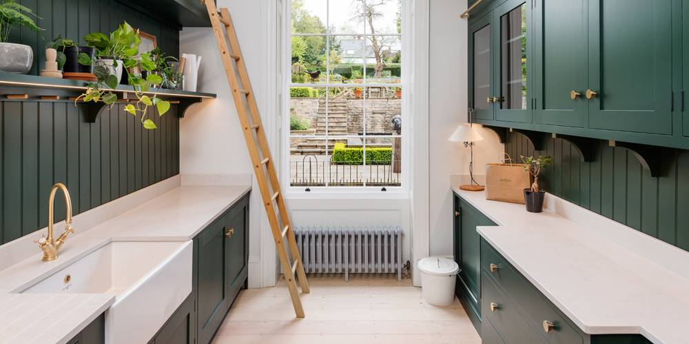 Devon architects pantry joinery and view