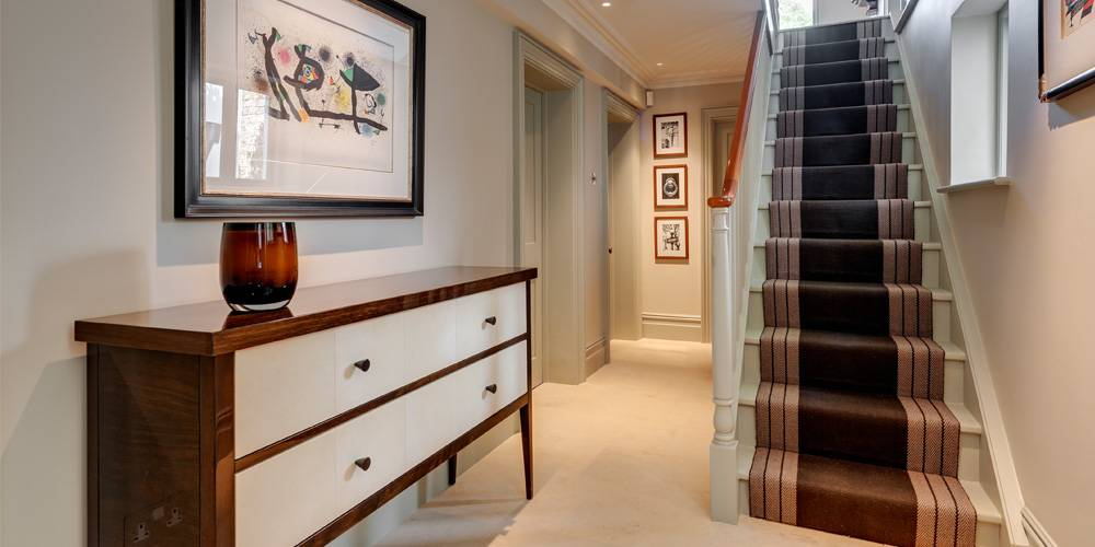 Devon Architects London Townhouse Interior Design Bespoke furniture and roger oates stair runner