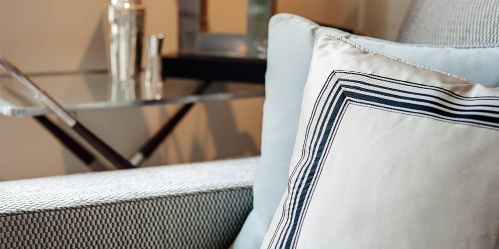 Devon Architects London Townhouse Interior Design bespoke cushions with Dedar trim