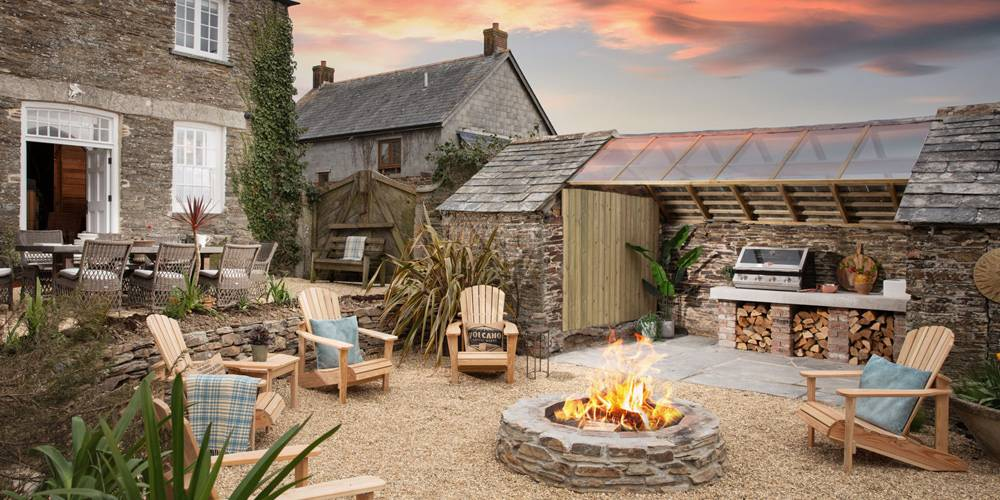 Architects Cornwall Country house and garden firepit