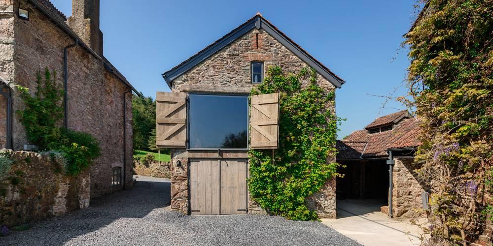 Devon Architects Main barn with shutters open