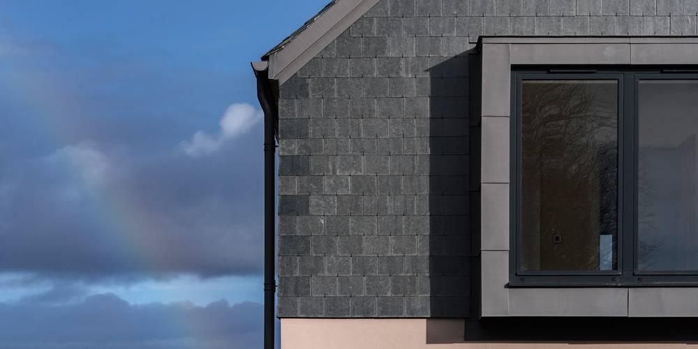 Bay window and slate cladding