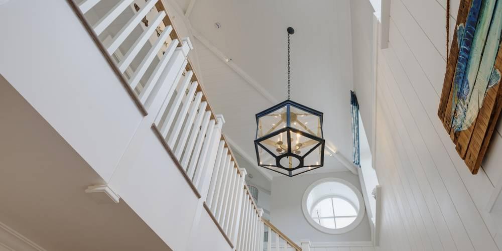 Architects Salcombe Hamptons style double height hallway entrance