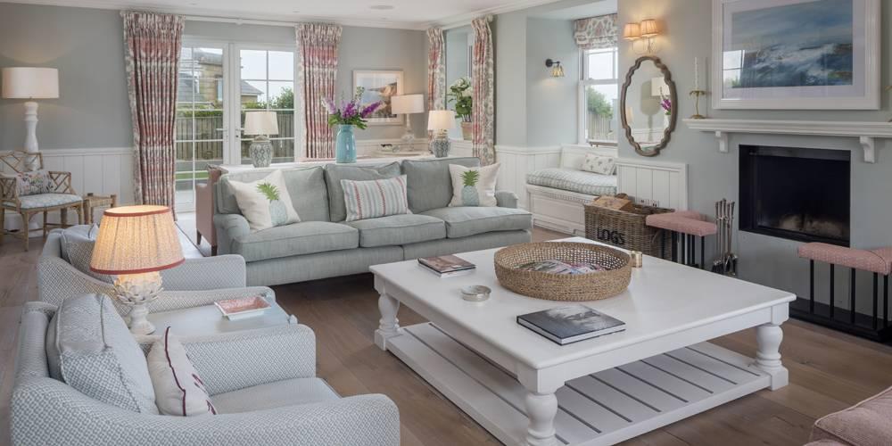 Architects Salcombe Hamptons style lounge fireplace
